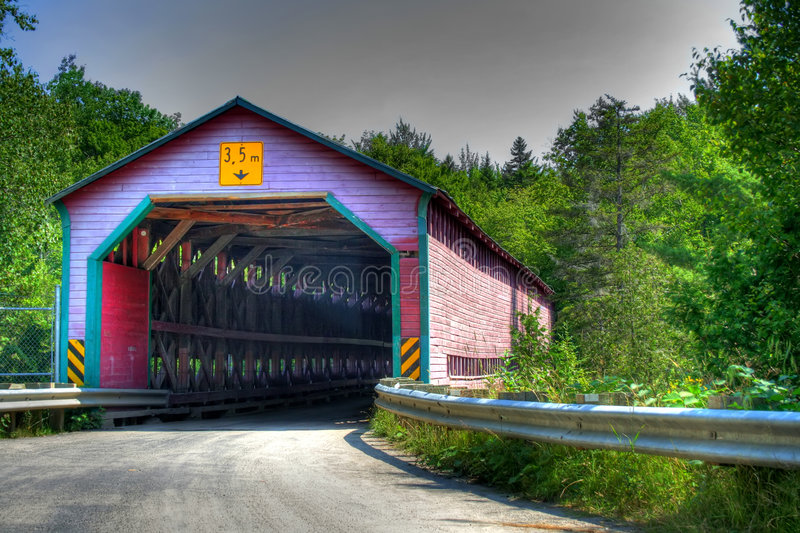 Download Red Covered bridge HDR stock illustration. Image of traffic - 4981957