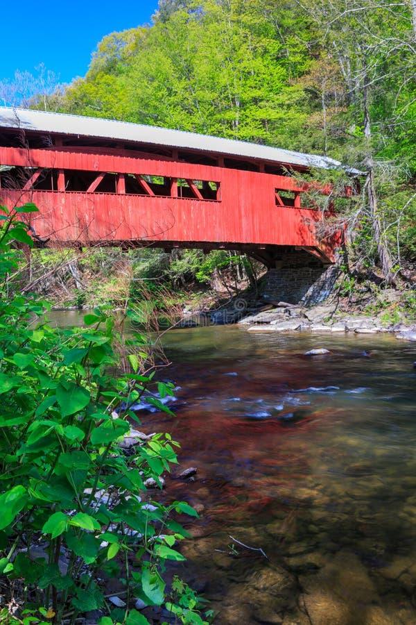 Red Covered Bridge Pennsylvania Vertical stock photo