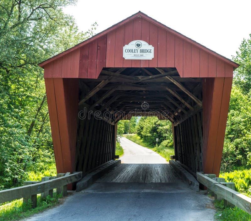 Red Covered Bridge Vermont stock photo