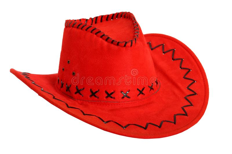 Red Cowboy Hat Isolated On White Stock Images