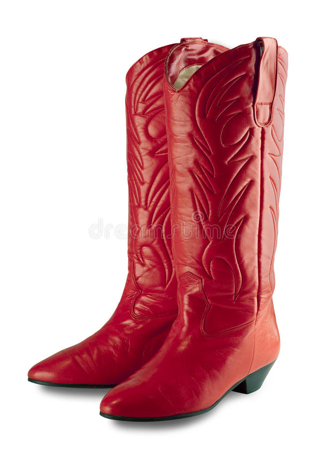 Red Cowgirl Boots, Isolated Stock Images
