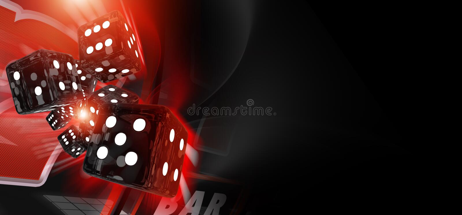 Red Craps Dices Casino Banner. 3D Rendered Illustration with Copy Space. Casino Games Theme stock image