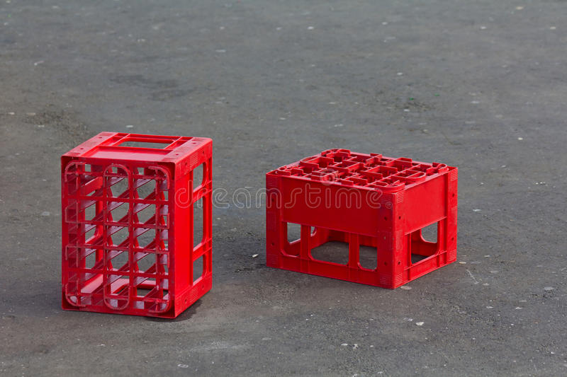 Red crates stock photo