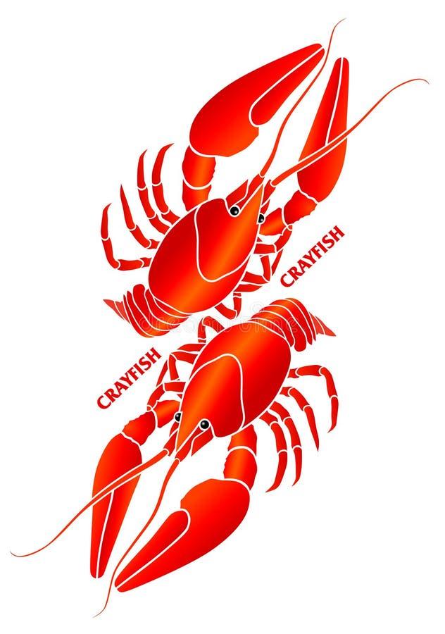 Red crayfish. Symbolic compositon. royalty free illustration