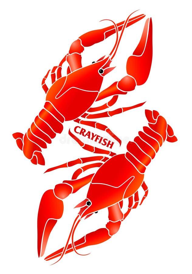Red crayfish. Symbolic compositon. stock illustration
