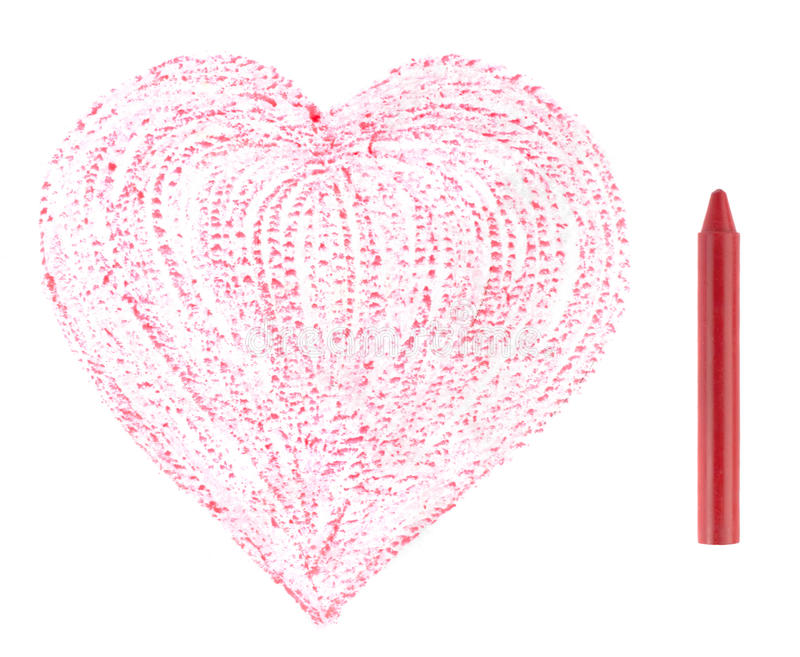 Red crayon and drawn heart. Red crayon with drawn heart royalty free stock photography