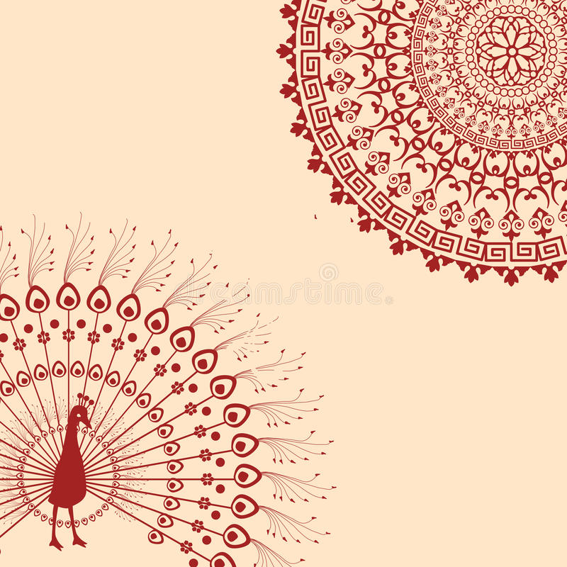 Red And Cream Indian Peacock Mandala Background Stock