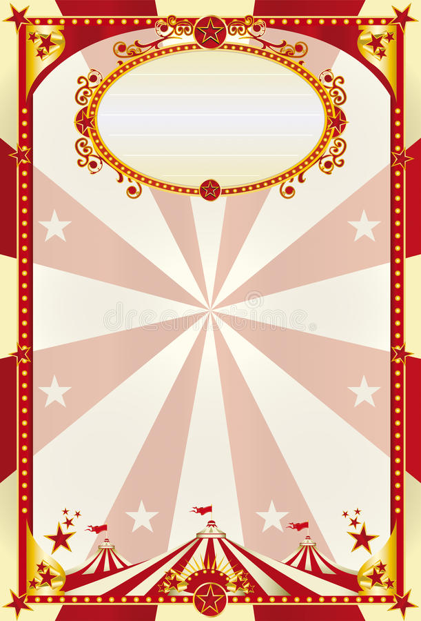 Red and cream poster with a big top