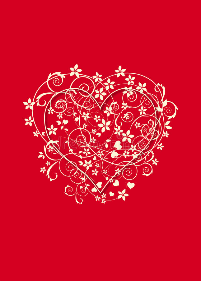 Download Red And Creamy Background With Love Heart Stock Illustration - Image: 22324066
