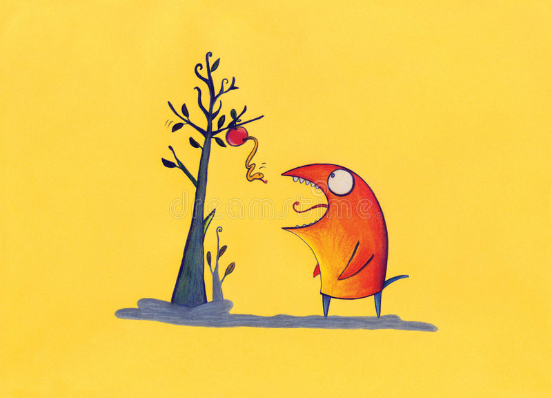 Download Red Creature Waiting For Apple Warm Stock Illustration - Image: 8662712