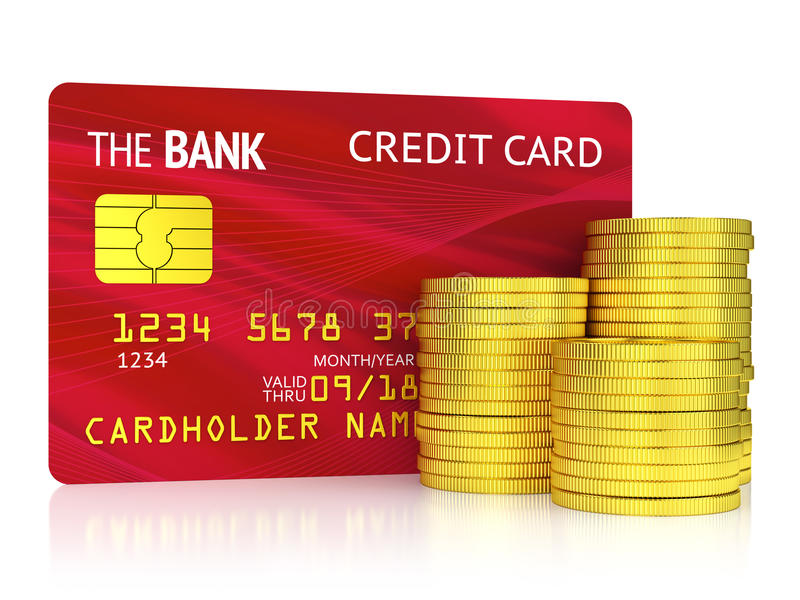 Red Credit Card And Coins Isolated On White Stock Photo