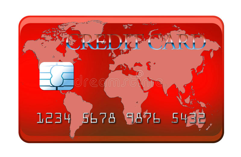 Red credit card with world map royalty free illustration