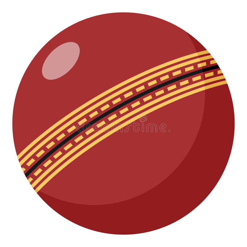 Red Cricket Ball Flat Icon Isolated on White. Cricket ball flat icon, isolated on white background. Eps file available stock illustration