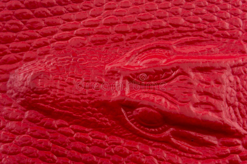 Red crocodile leather with alligator head royalty free stock photography