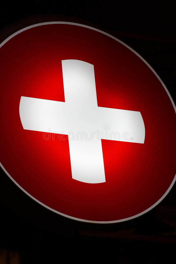 Free Red Cross At Night Royalty Free Stock Photo - 22932475