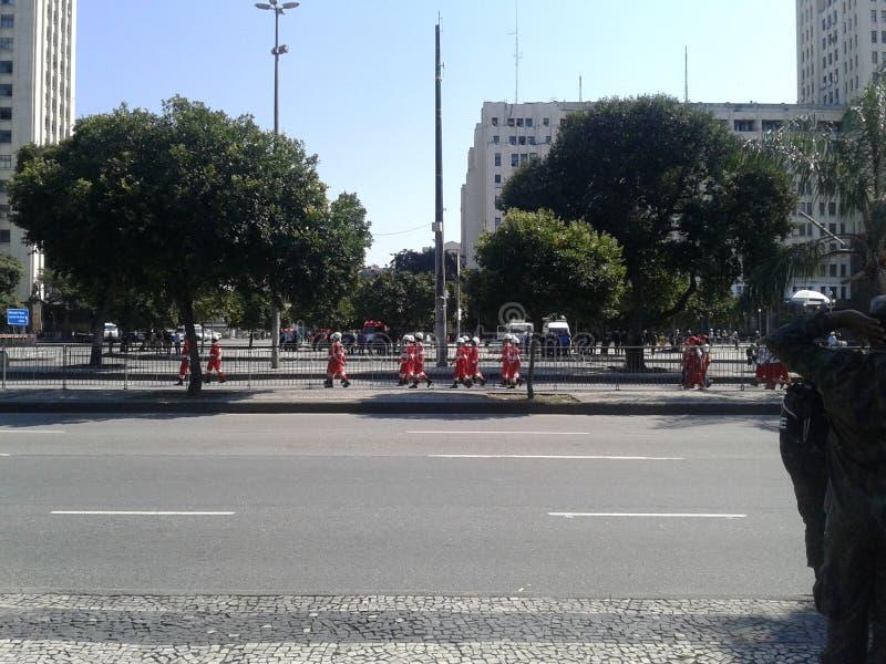 Red Cross in brazilian independence day parade. 09-07-2019 Brazilian independence day parade. Guards and Red Cross in Presidente Vargas avenue Rio de Janeiro royalty free stock photos