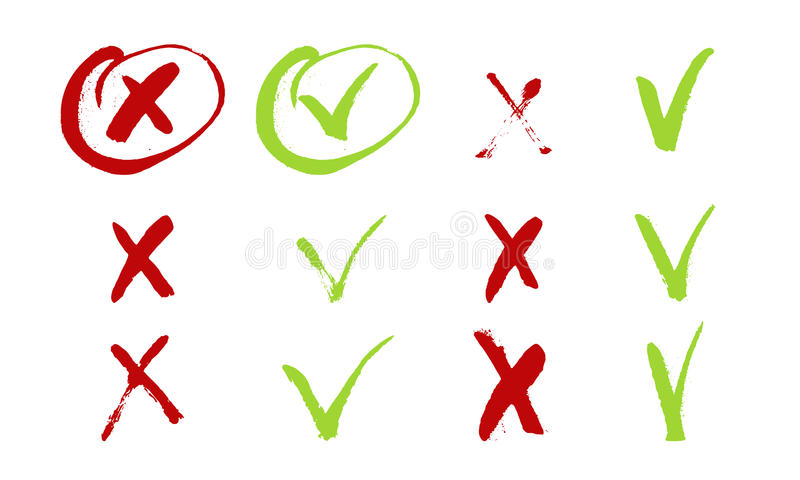 Red cross and green tick grunge set for web sites. Right and Wrong signs isolated on white background vector hand drawn stock illustration