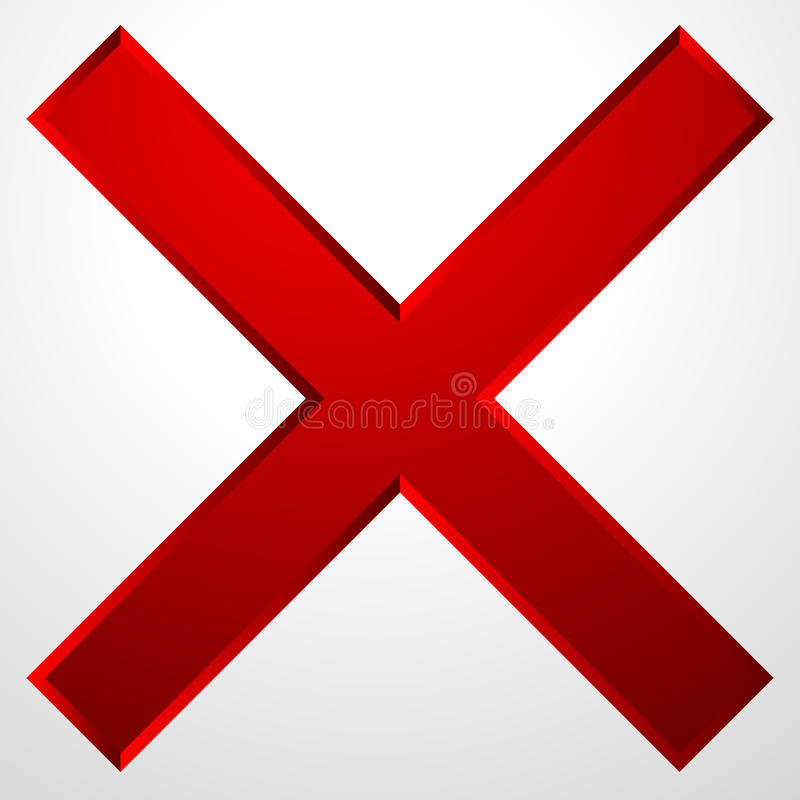 Red cross icon with bevel effect. Delete, remove icon, sign. vector illustration