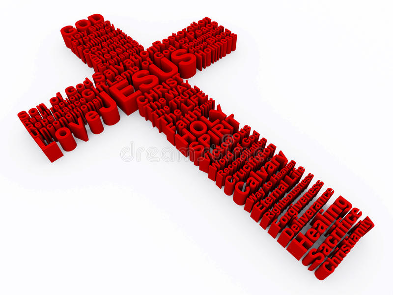Red Cross made up of 3D words. 3D Cross made up of various words that describe Christianity and Jesus Christ stock illustration