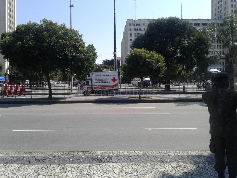 Red Cross truck in brazilian independence day parade. 09-07-2019 Brazilian independence day parade. Guards and Red Cross truck in Presidente Vargas avenue Rio stock photography