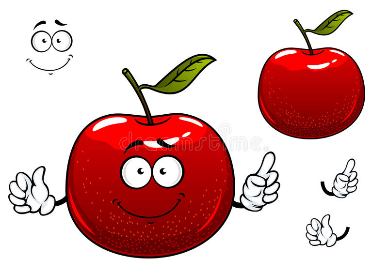 Red crunchy apple fruit cartoon character. Fresh crunchy red apple fruit cartoon character with glossy peel, green leaf and cheerful smile including second vector illustration