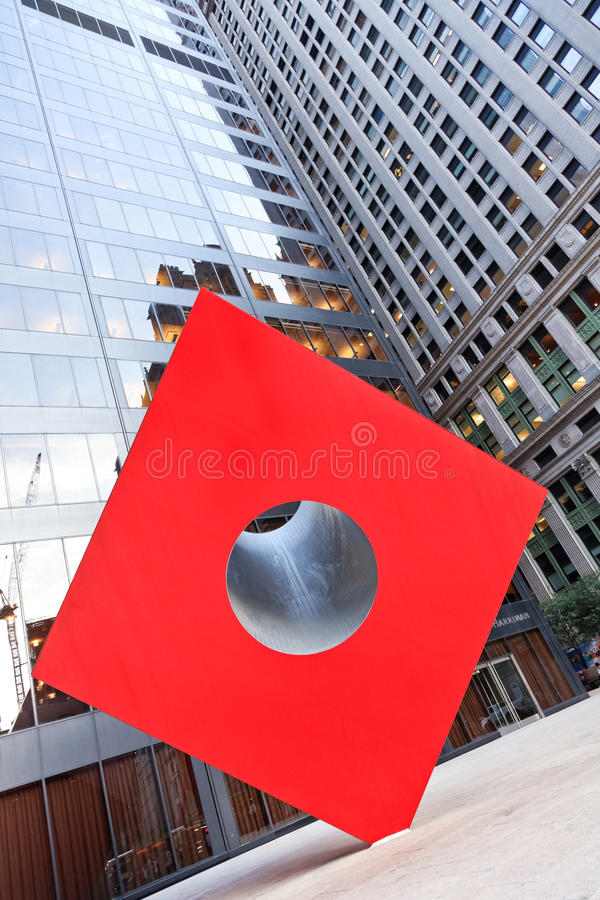 Red Cube. Federal Hall & Vicinity - New York City, New York - Red Cube Sculpture by Isamu Noguchi stock image