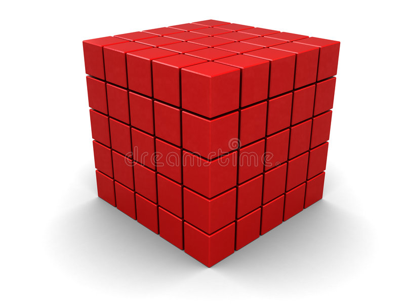 Red cube. Abstract 3d illustration of red cube builded from blocks royalty free illustration