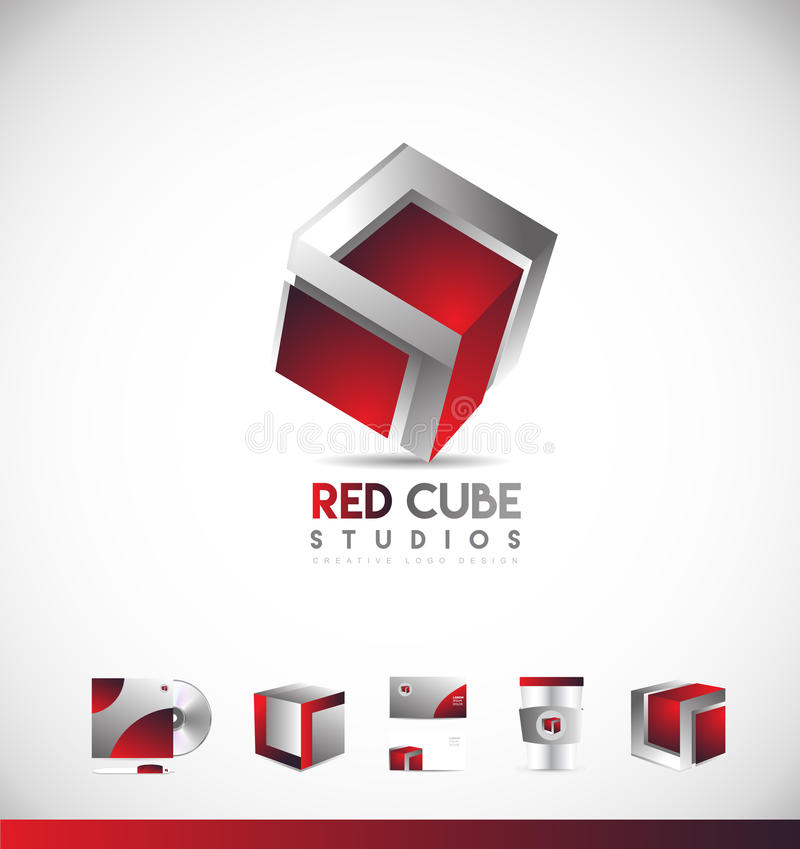Red cube 3d logo icon design royalty free illustration