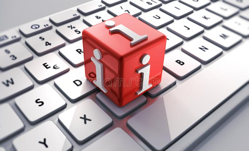 Red cube with info signs on keyboard stock illustration