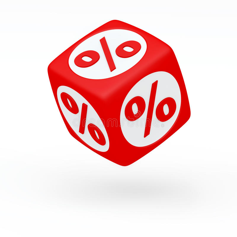 Red cube with a percent sign on the sides () (3D render) stock illustration
