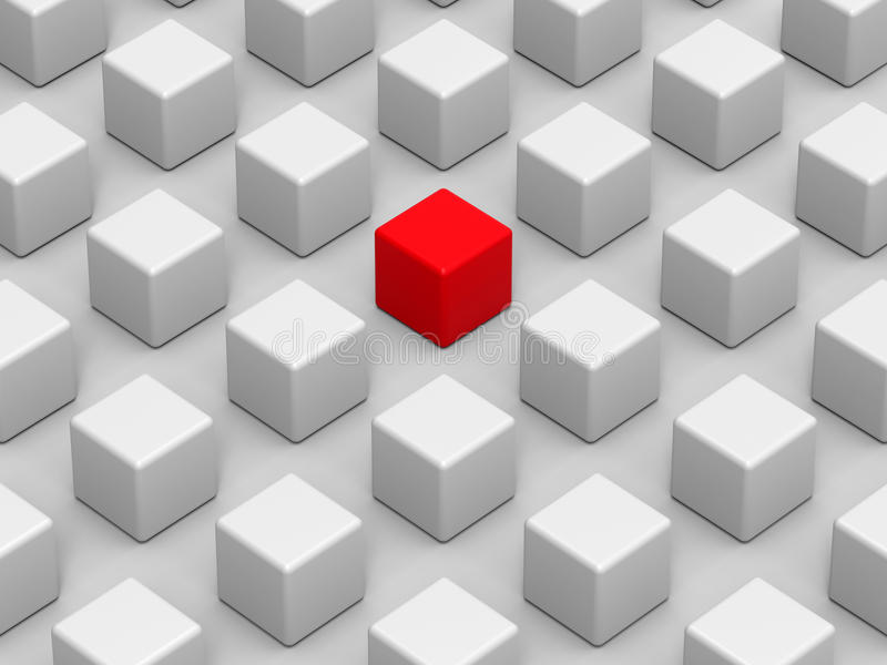 Red cube - standing out of the crowd. 3D render illustration of multiple cubes arranged in a rectangular pattern. One cube is colored in red indicating the one vector illustration