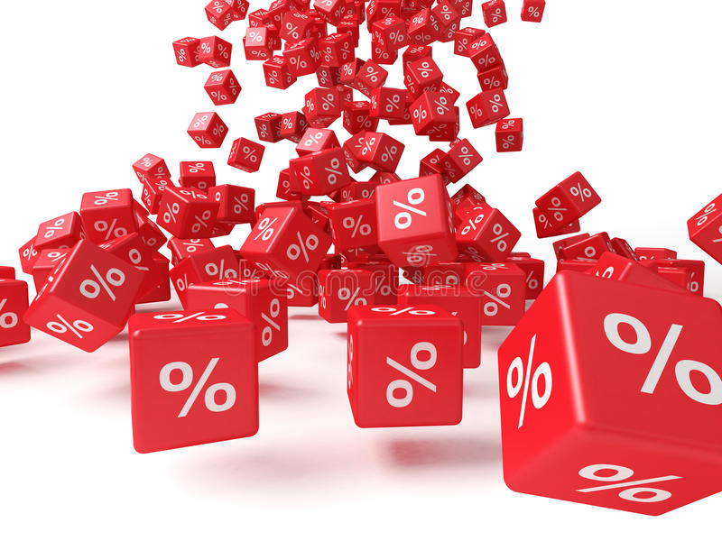 Red cubes. With percent sign royalty free illustration