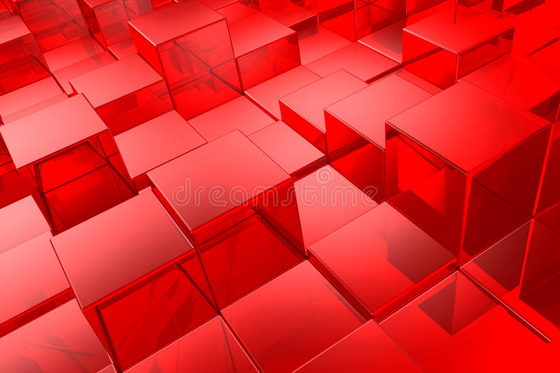 Red cubes. Red shiny cubes background illustration royalty free illustration