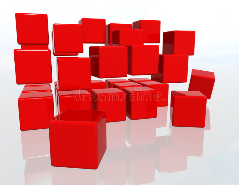 Red Cubes. Over a white background stock illustration