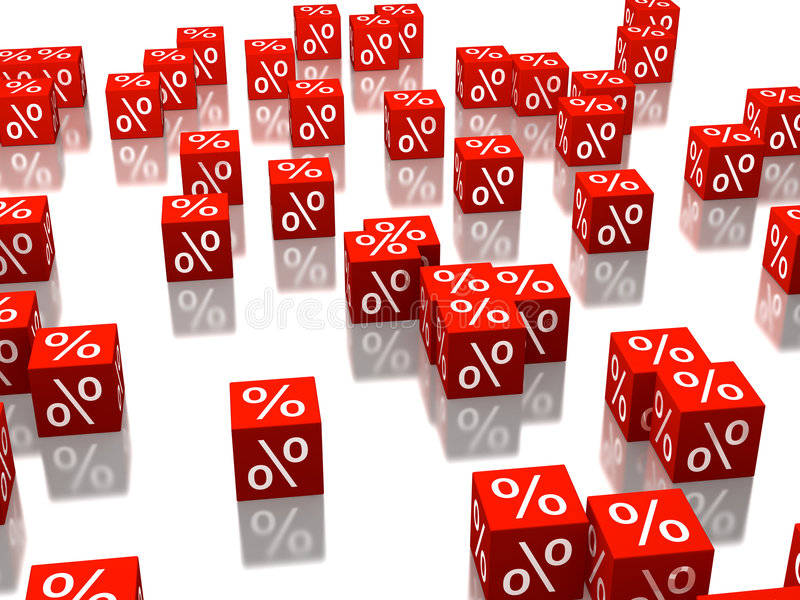 Red cubes. With percent signs on sides vector illustration