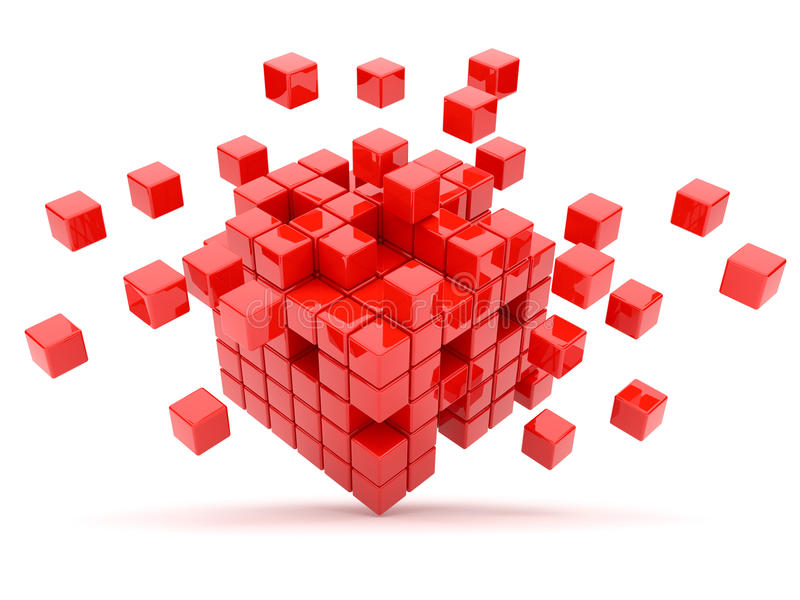 Red cubes 3D. Isolated. On white background royalty free illustration