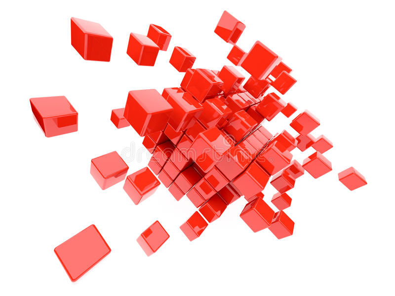 Red cubes 3D. Isolated. On white background vector illustration