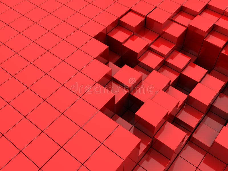 Red cubes background. Abstract 3d illustration of red cubes background royalty free illustration