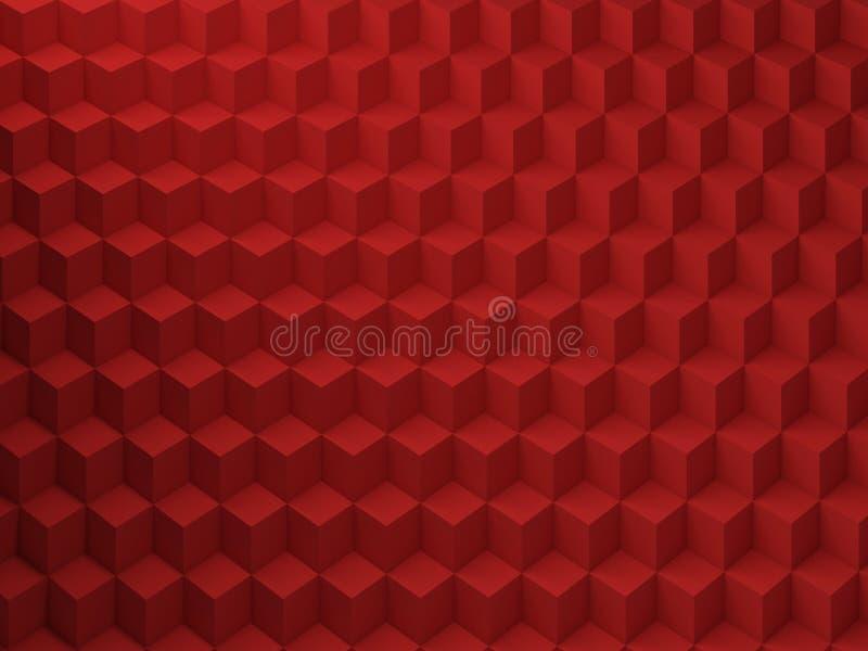 Red Cubes pattern, 3d render illustration royalty free illustration
