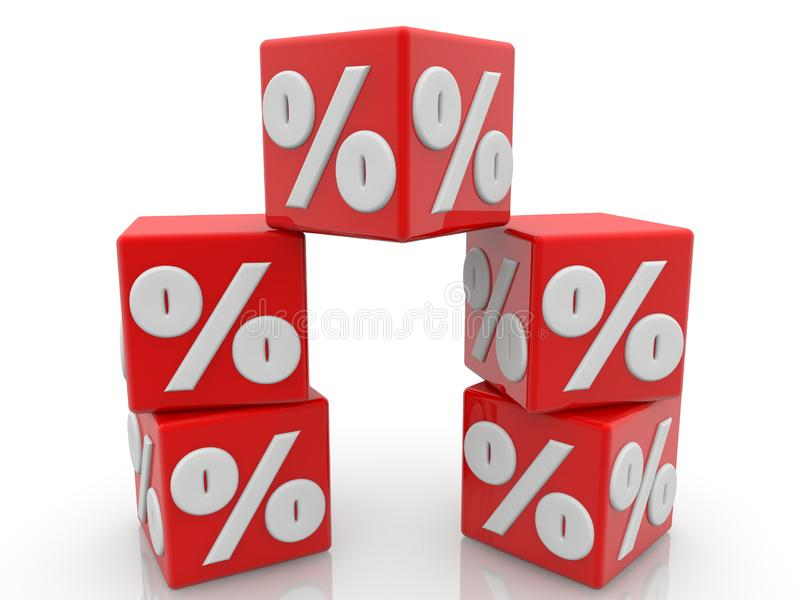 Red cubes with percent concept in white. In background royalty free illustration