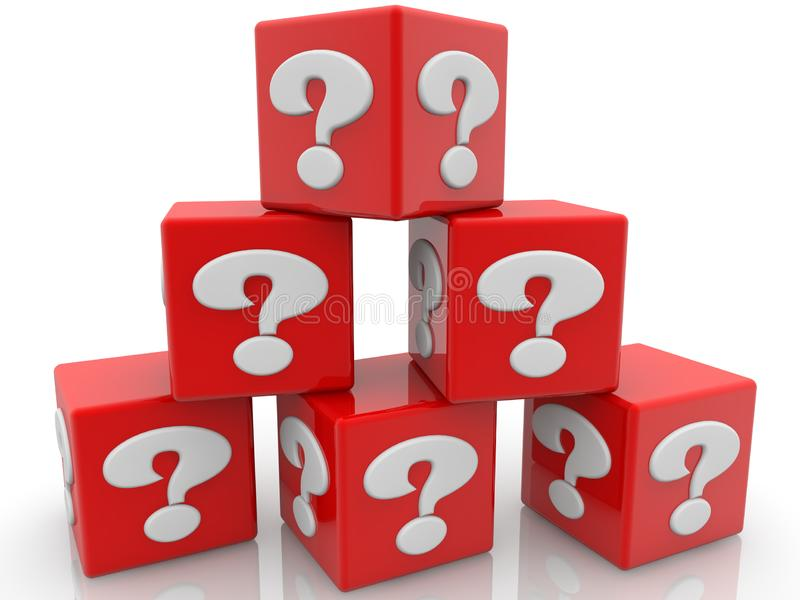 Red cubes piled into the pyramid with question mark concept. In background royalty free illustration