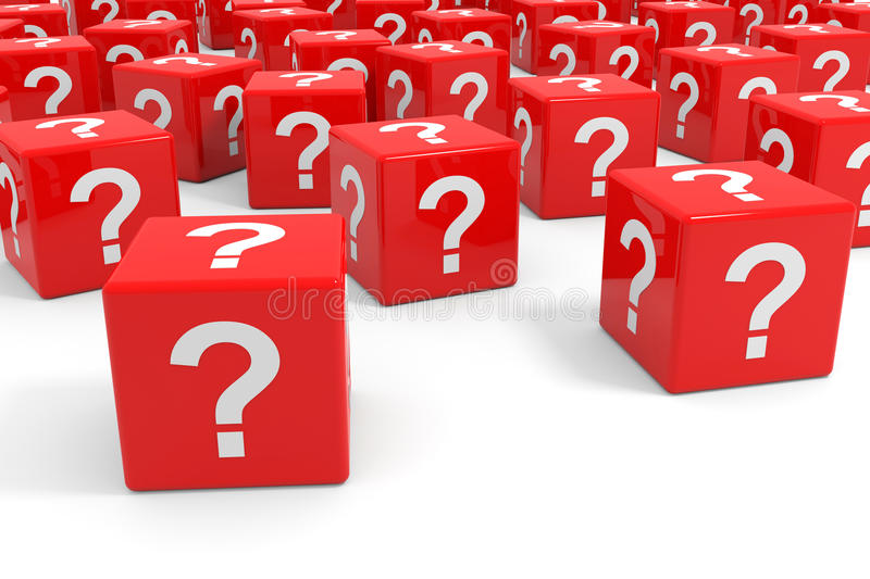 Red cubes with question mark. Computer generated image royalty free illustration