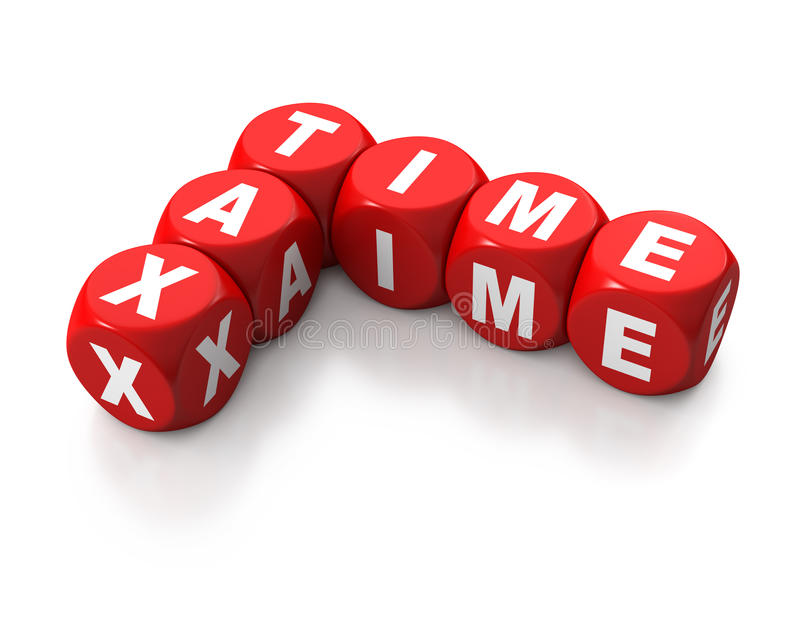 Red cubes reading TAX TIME. Red cubes or dice signalling TAX TIME on white background royalty free illustration