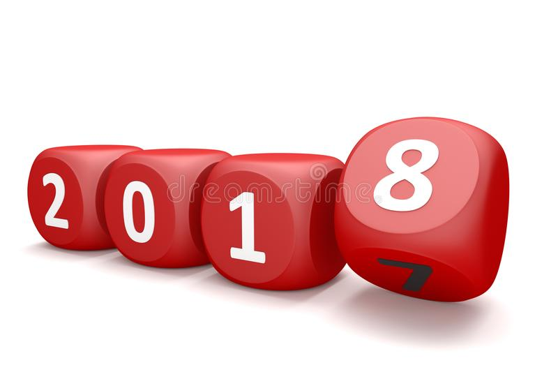Red Cubes 2017. Red cubes with numbers 2018 on the white stock illustration