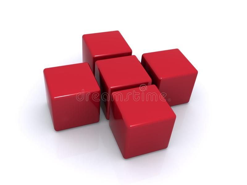 Red cubes in shape of cross