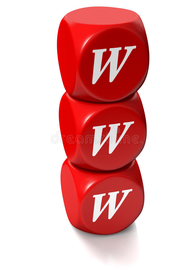 Red cubes with WWW address. Red cubes or dice with WWW letters denoting World Wide Web royalty free illustration