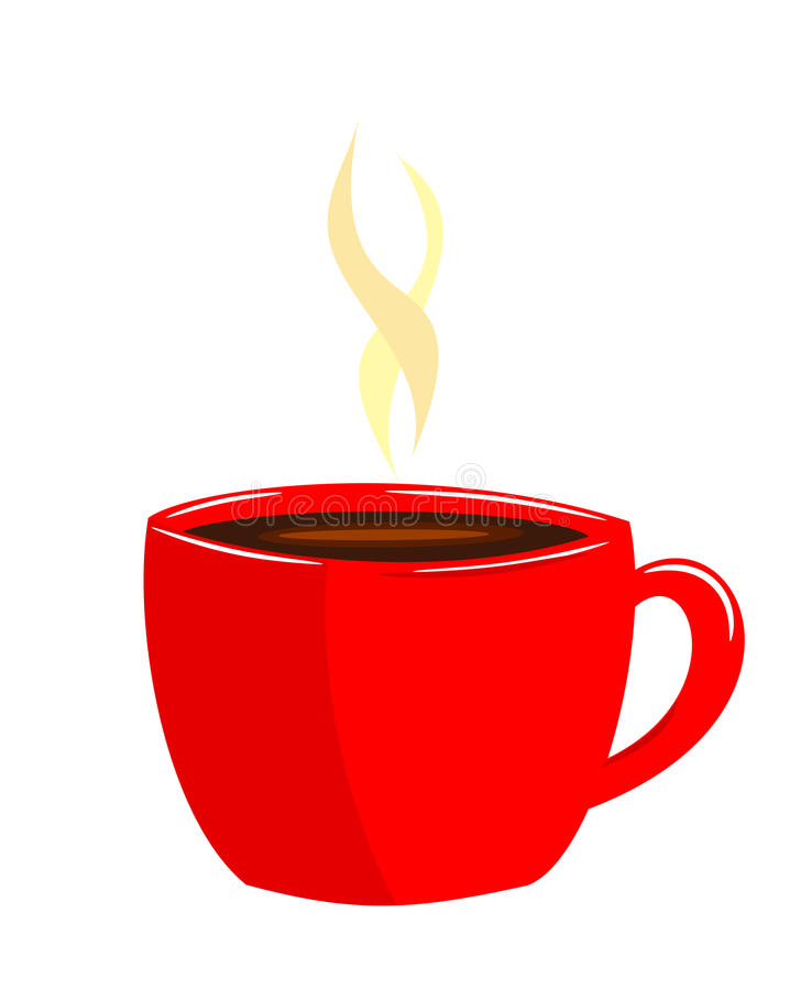 Red cup of coffee. Red cup off steaming aromatic coffee vector illustration