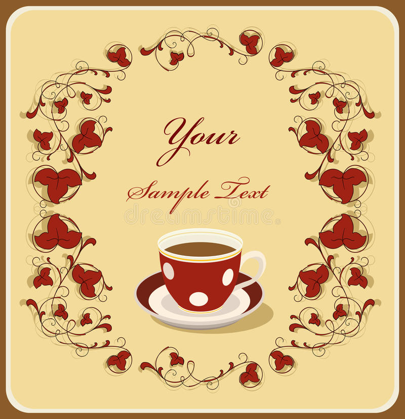 Download Red Cup Of Coffee In The Flral Frame Stock Vector - Image: 10521150