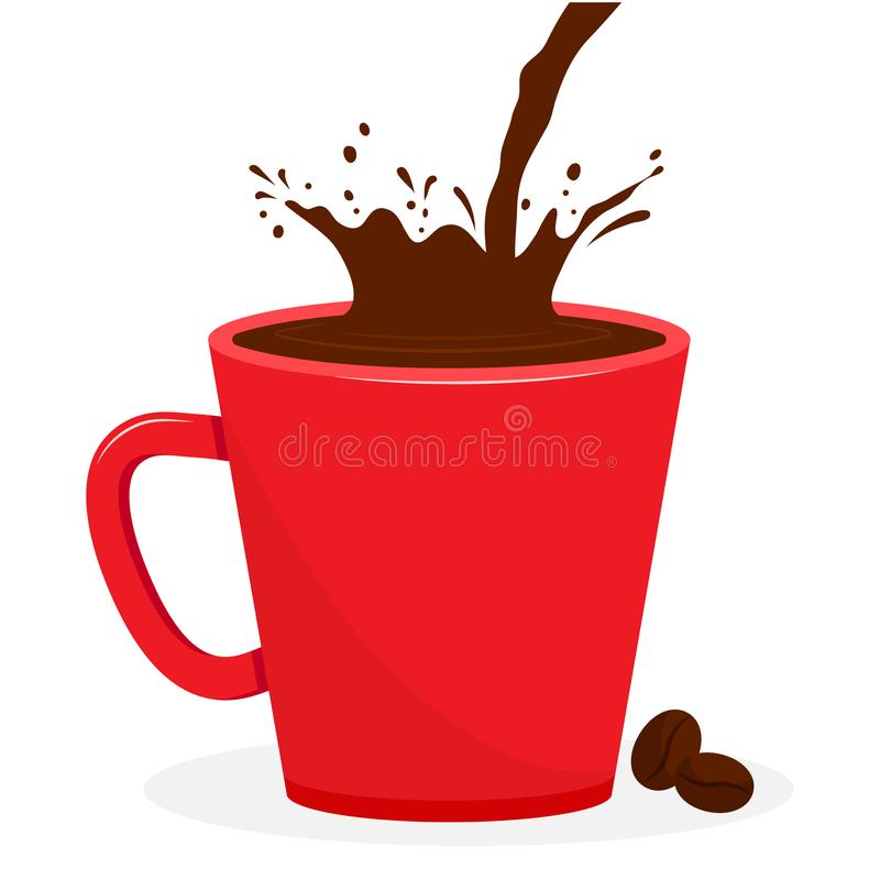 Red cup with coffee, splash beverage. Coffee beans. Vector. Illustration stock illustration
