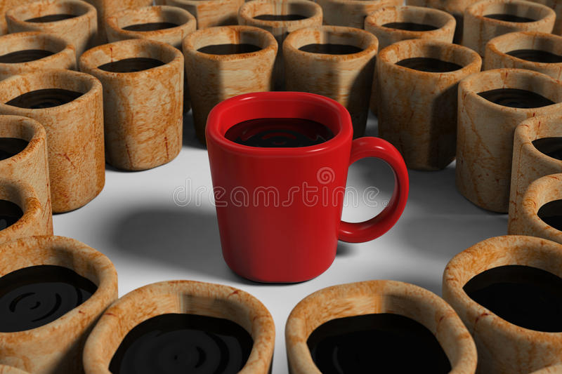 Download Red cup among dirty cups stock illustration. Image of specially - 25790489